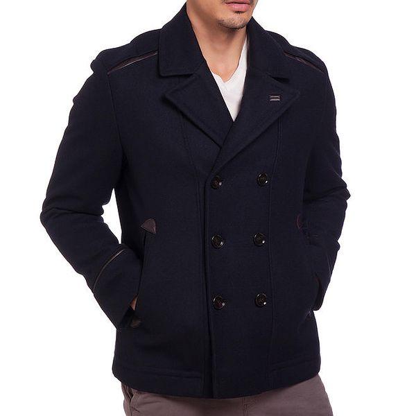 Pánský tmavě modrý dvouřadý kabátek Galvanni