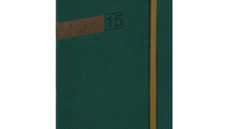 Twill - Kapesní, zelenobronzová, diář 2015, 9 x 15,5 cm