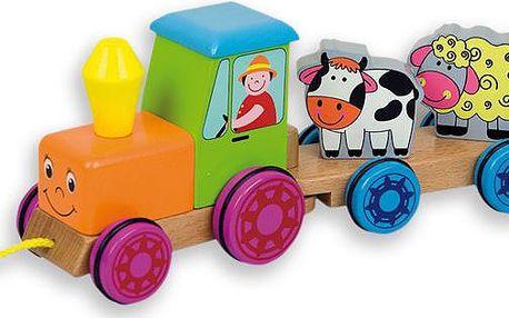 Dřevěný traktor se zvířátky