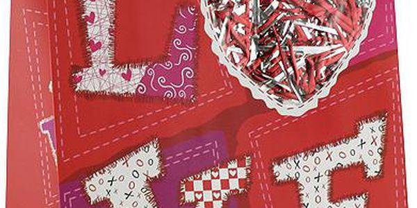 Dárkové tašky Dárková taška LOVE s výplní třpytek 264x327 mm