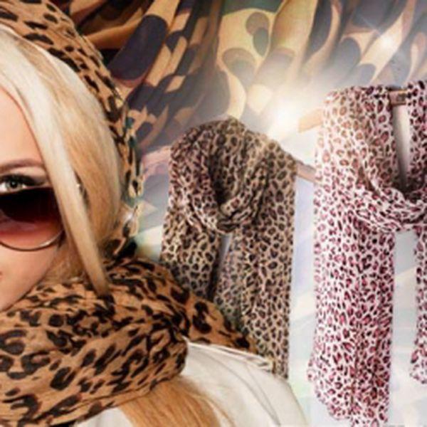 Šifonový šátek s leopardím vzorem ve 4 barevných provedeních! Zahřeje a doladí Váš outfit k dokonalosti!