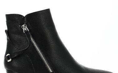 Dámská černá kotníčková obuv s dekorativním zipem Shoes and the City