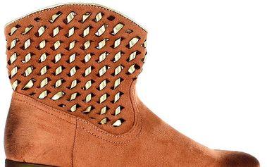 Dámské hnědé kotníčkové boty se zlatým zdobením Shoes and the City