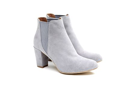 Dámské šedé semišové kotníčkové boty na podpatku Shoe the Bear