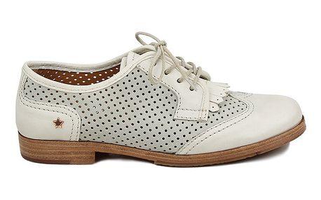 Dámské šedobílé perforované polobotky Cubanas Shoes