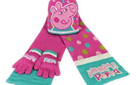 Dívčí zimní set Prasátko Pepina - rukavice, šála, čepice