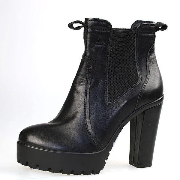 Dámské černé kotníkové boty s robustní podrážkou Bullboxer