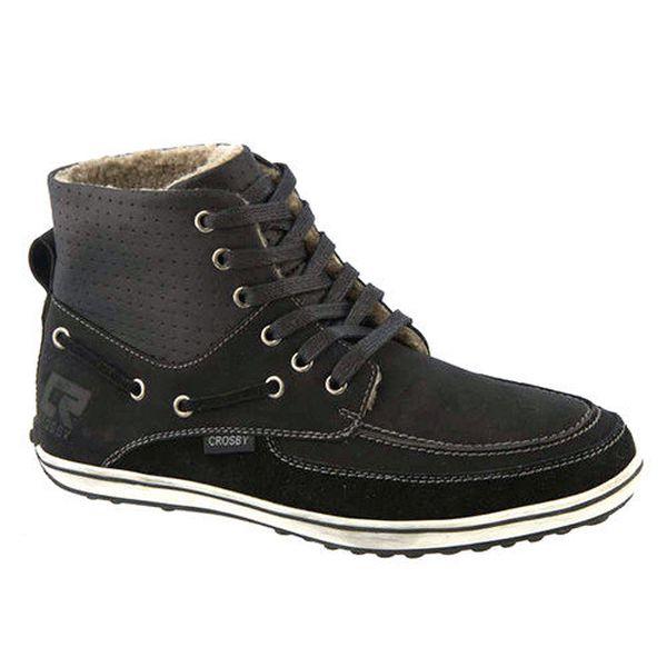 Pánské černé kotníkové boty se zateplením Crosby