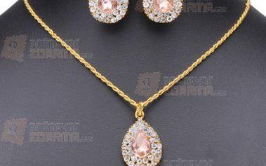 Elegantní set náhrdelníku a náušnic s kamínky a poštovné ZDARMA! - 9999916239