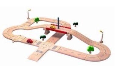 PlanToys - Silnice s mostem a křižovatkou