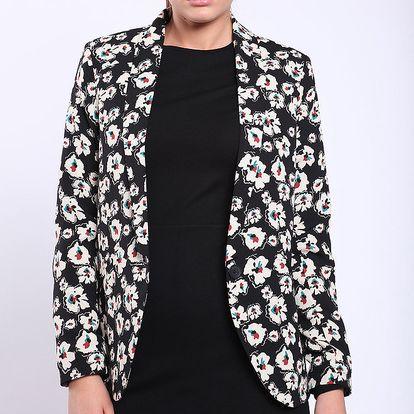 Dámské černé sako s bílými květy Melli London