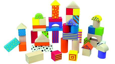 50 dřevěných kostek pro malé stavitele