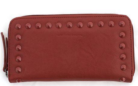 Dámská červená peněženka se zipem a cvočky United Colors of Benetton