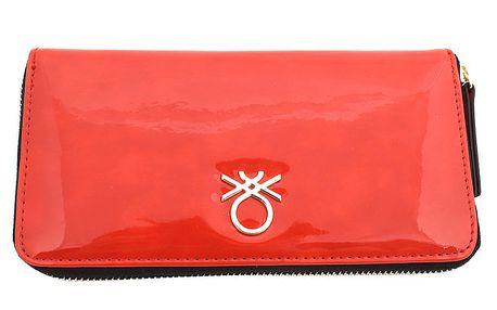 Dámská lesklá peněženka United Colors of Benetton - červená