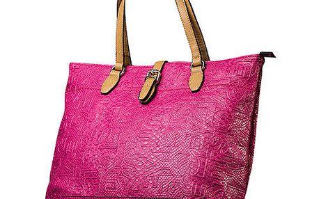 Dámská růžová kabelka s kontrastními poutky Sisley