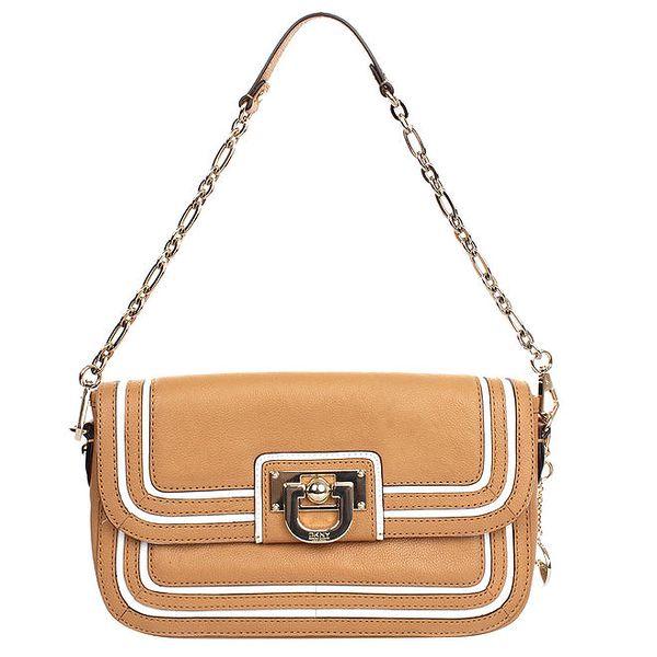 Dámská kožená kabelka s řetízkovým poutkem a bílými prvky DKNY