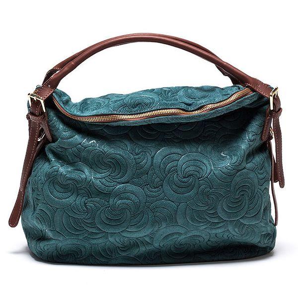 Dámká vzorovaná kožená kabelka v tyrkysové barvě Mangotti