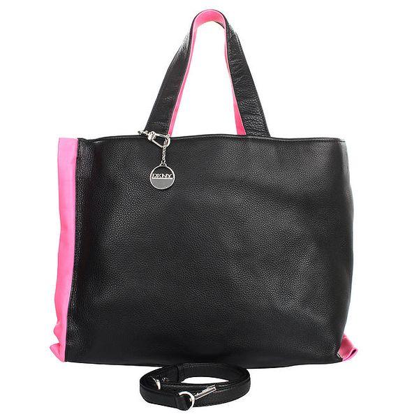 Dámská velká černá kabelka s růžovými prvky DKNY