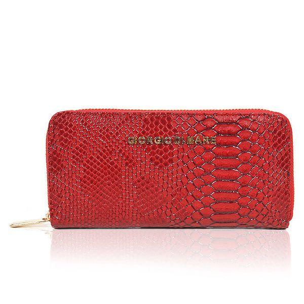 Dámská červená peněženka s hadím vzorem Giorgio di Mare