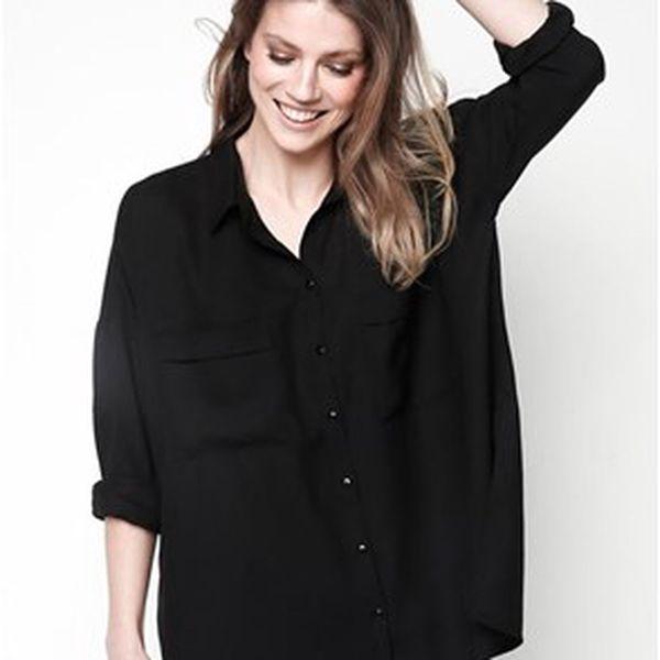 Módní dámské oversize tričko s kapsami na hrudi