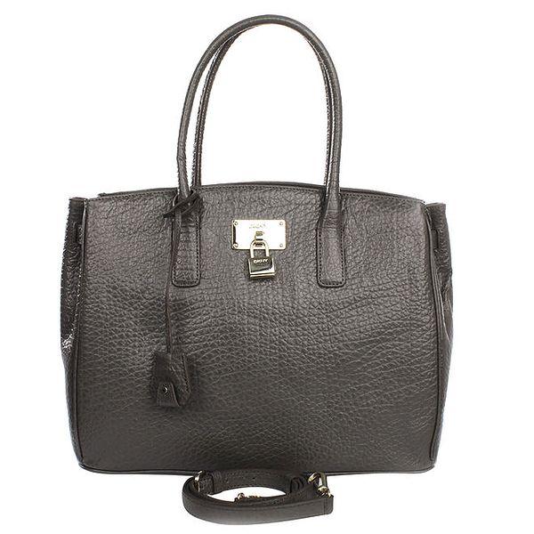 Dámská tmavě šedá kabelka se zlatým zámečkem DKNY