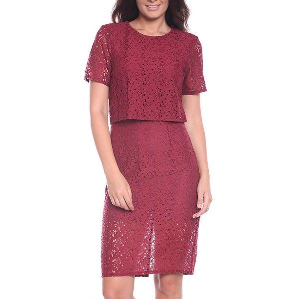 Dámské vínové šaty s perforovací Melli London