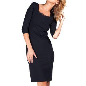 Dámské černé šaty s krajkovým výstřihem Sixie