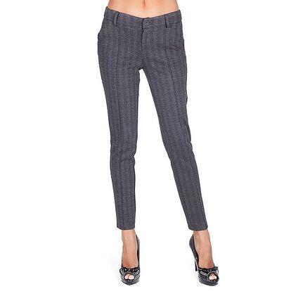 Dámské temně šedé vzorované kalhoty Sixie
