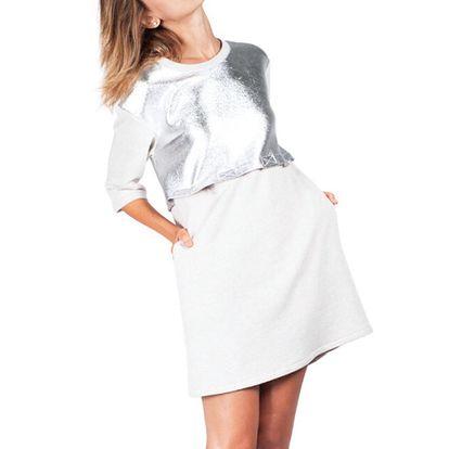 Dámské šedé šaty s odnímatelným horním dílem Sixie