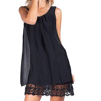 Dámské černé šaty s krajkou Sixie