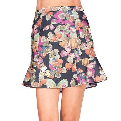 Dámská sukně s volánkem a barevnými motýlky Sixie