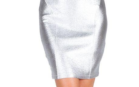 Dámská šedo-stříbrná sukně Sixie