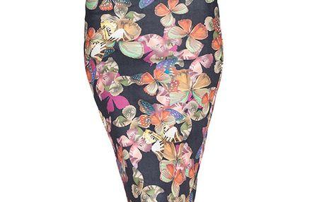Dámská černá midi sukně s barevnými motýlky Sixie