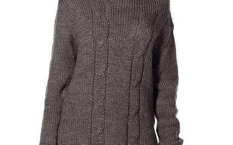 Dámský tmavě hnědý svetr s rolákem Lora Gene