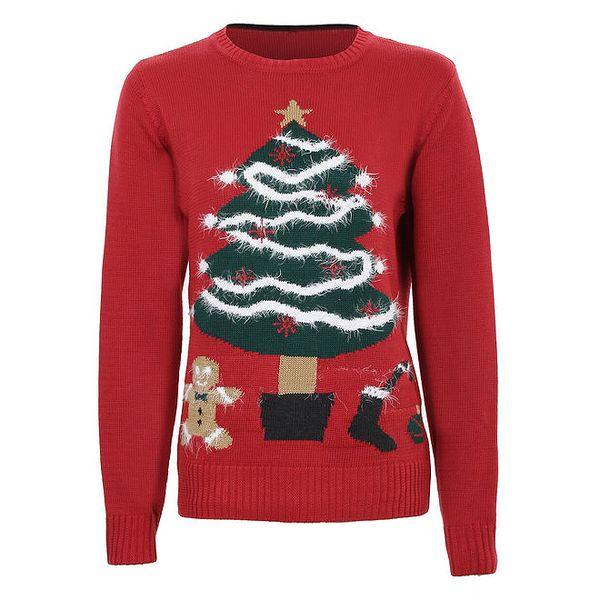 Dámský červený svetr s vánočním stromečkem Sugar Crisp