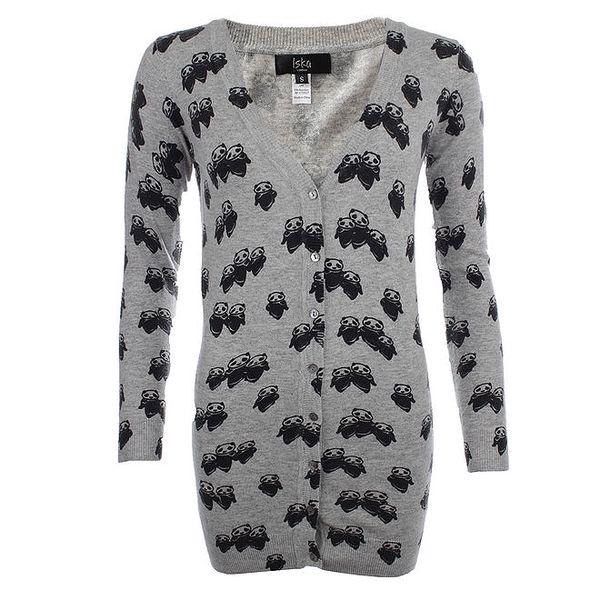 Dámský šedý propínací svetr s pandí rodinkou Iska