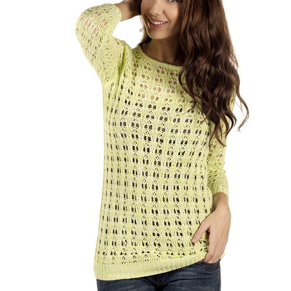 Dámský žluto-béžový perforovaný svetr New Caro