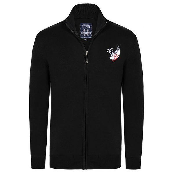 Pánský černý svetr se zipem Giorgio Di Mare