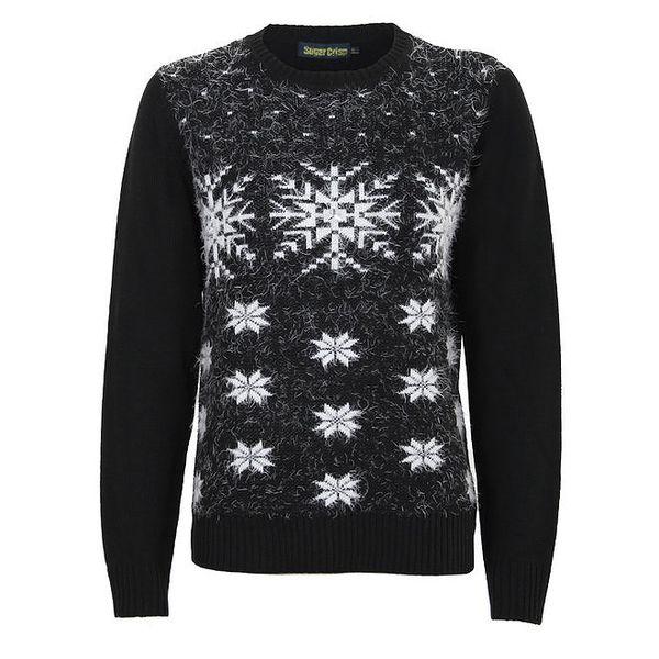 Dámský černý svetr s bílými sněhovými vločkami Sugar Crisp