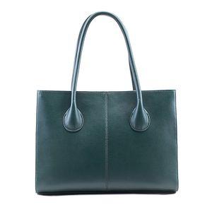 Dámská zelenomodrá kožená obdélníková kabelka Belle & Bloom