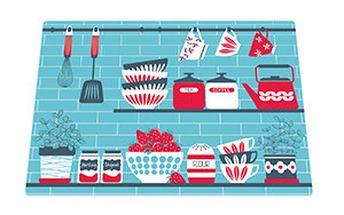Skleněné prkénko Kitchen Shelves Blue, 30x40cm