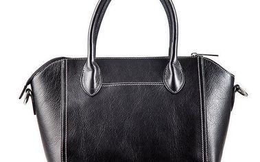 Dámská černá kožená kabelka s bílým prošíváním Belle & Bloom