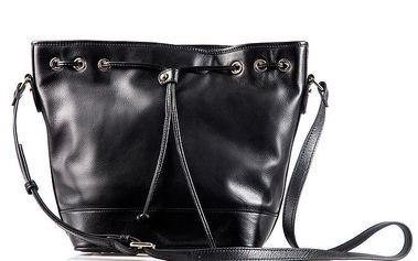 Dámská černá kožená kabelka s tkaničkou Belle & Bloom