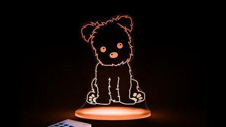 Noční světýlko Štěňátko + ovladač pro volbu barev