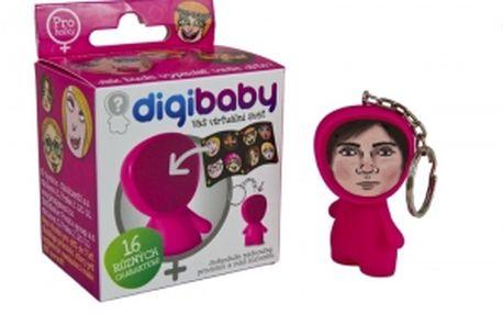 Nejosobnější figurka všech dob! Digibaby, originální figurka s klíčenkou růžová