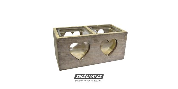 Romantický dřevěný svícen na dvě čajové svíčky!