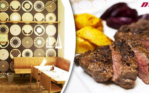 2x 200g jihoamerický steak, salát i dezert