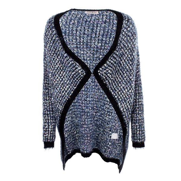 Dámský delší modrý svetr s černým lemováním Beauty Women