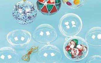 Transparentní vánoční koule k zavěšení (12 ks)