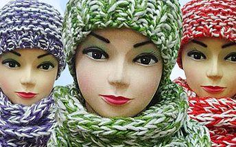 Teplá souprava čepice a šály: krásný teplý zimní set, na výběr z 5 barev!